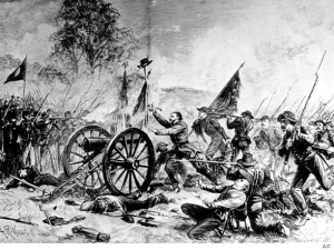 An artist's depiction of Pickett's Charge. At least two Southern women made the fatal march.
