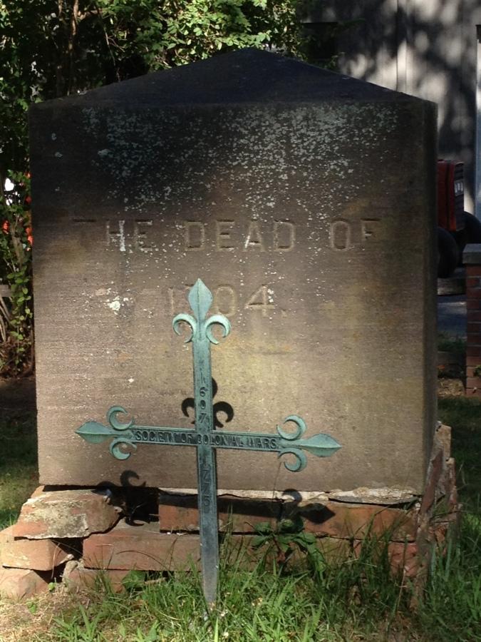 Gravestone commemorating the Deerfield inhabitants that lost their lives in the Deerfield Raid on February 29, 1704