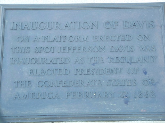 Plaque marking Jefferson Davis' inaguration
