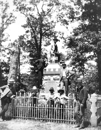 Veterans gather at the Sedgwick monument on a battlefield visit. (photo courtesy FSNMP)