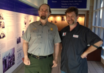 Lee White (left) and Chris Mackowski at the Chickamauga Battlefield Visitor Center