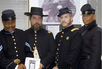 Our first sponsored program at the John J. Wright Museum, Rappahannock Exodus, pictured left to right Cpl. Steward Henderson, Cpt. Jon Cummings, Lt. Jimmy Price, and (future) Hospital Steward Kevin Williams, Sr.