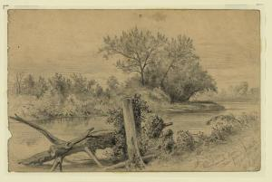 The Rappahannock near Beverly Ford. George Custer crossed the river here with John Buford's Left Wing on the morning of June 9, 1863. Courtesy of the Library of Congress