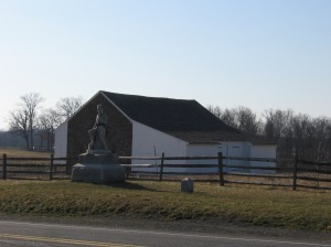 Monument of the 149th Pennsylvania. In the background is the Edward McPherson Barn.