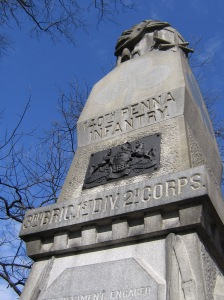 One of the monuments to the 140th Pennsylvania at Gettysburg.