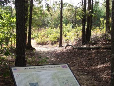 Original Confederate earthworks preserved along the White Oak Road