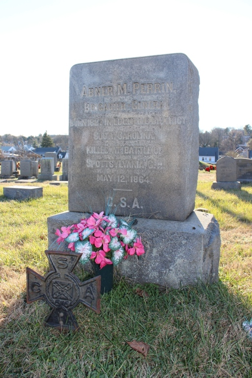 Grave of Brigadier General Abner Perrin in Fredericksburg City and Confederate Cemetery, Virginia