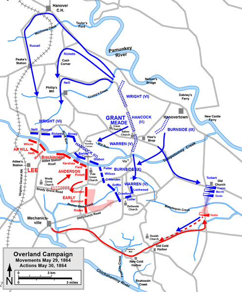Map of action fro May 29 - May 30th, including the action at Totopotomoy Creek (courtesy of Wikipedia)