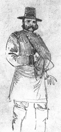 A rarely published sketch  of IX Corps commander Ambrose E. Burnside