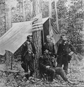From left to right-Francis Barlow, David Birney, John Gibbon, Winfield Scott Hancock (seated)