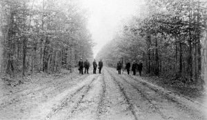 Veterans on the Orange Plank Road. (Fredericksburg and Spotsylvania National Military Park Collection.)