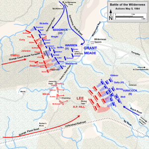 Action in the Wilderness, May 5, 1864. Map created by Hal Jesperson www.cwmaps.com