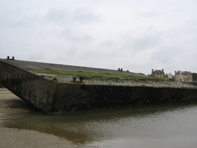 The backside of the remains of a Mulberry Harbour on GOLD Beach.