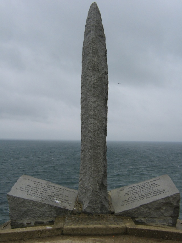 The Rangers' Memorial at Pointe du Hoc. Dedicated in 1960, this simple dagger memorial commemorates the efforts of the 2nd and 5th Ranger Battalions actions on D-Day. Other Ranger units struck the beaches at UTAH and OMAHA. Rudder's men who attacked Pointe du Hoc lost 135 out of 225 men engaged.