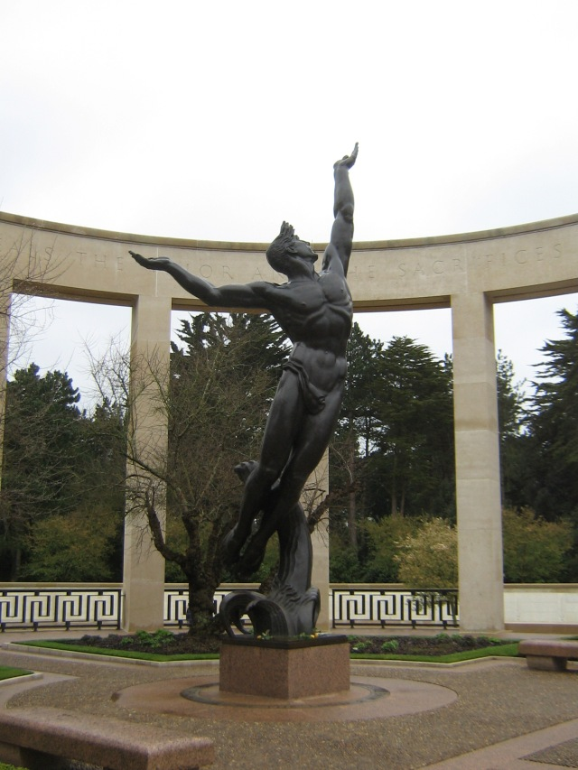 "The memorial inside the American Cemetery at Colleville sur Merl ""The Spirit of American Youth Rising from the Waves."""