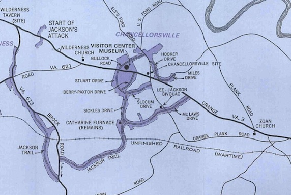 Park map from 1966 showing the addition of the Chancellorsville Visitor Center. Note the non-park land still surrounding the Chancellorsville intersection and on the south side of Route 3.