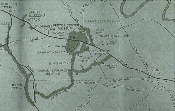 Park map from 1974 showing the location of the concrete plant (the non-park land south of Route 3). The acquisition of the land around the intersection, finalized in 1973, is already reflected on the map.