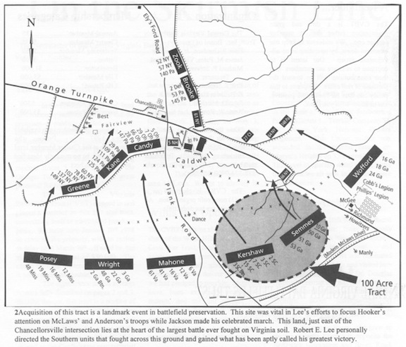 "Map from CVBT showing the action at McLaws Wedge, included in the promotional materials used to solicit funds to buy the parcel. The article contained details on the action, but note the use of the ""Lee's greatest victory"" memory in the map's caption."