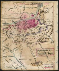 The Petersburg Area, showing Ream's Station towards the bottom of the map. (Library of Congress)
