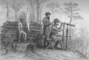 Gordon and Hotchkiss observing the Union line atop Massanutten Mountain. Courtesy of the Western Reserve Historical Society.