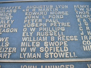 William Reese's name on the Pennsylvania monument.