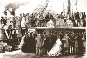 Visitors to CSS Shenandoah, Melbourne. (State Library of Victoria, Melbourne)
