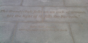 A quote from poet Ralph Waldo Emerson at the North Bridge in Concord.