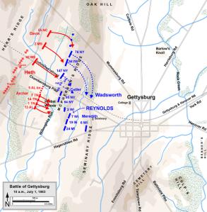 Gettysburg, July 1st-Near 10 AM. Map by Hal Jespersen, www.posix.com/CW