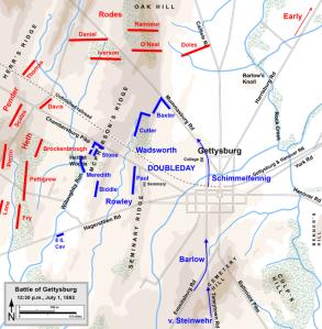 Gettysburg, July 1st-Noon. Map by Hal Jespersen, www.posix.com/CW