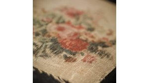 A swatch of Laura Keene's blood stained costume from the night of the assassination.  (Photo courtesy of Cade Martin)