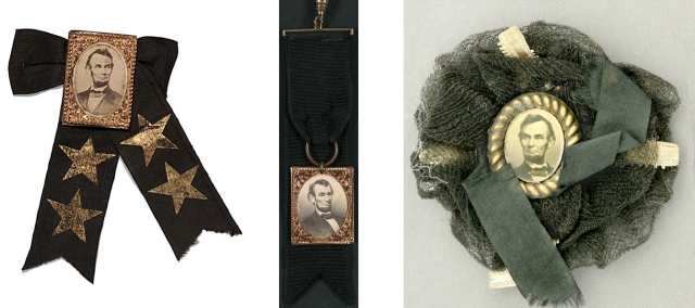 A variety of cockades and badges worn after the death of Abraham Lincoln.