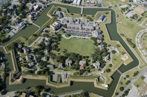 An aerial photograph of Fort Monroe taken on Thursday, Oct. 1, 2009. No Mags, No Sales, No Internet, No TV