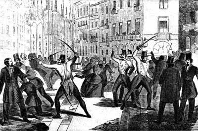 Milanese and Austrians scuffle in Milan, January 1848.