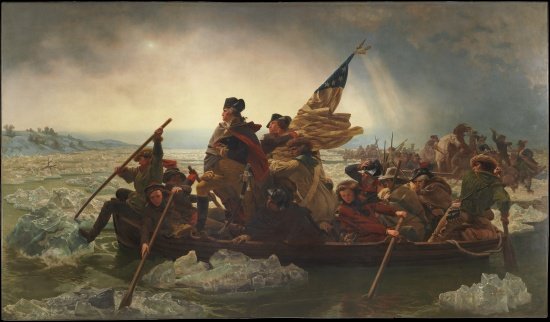 Emanuel Gottlieb Leutze, Washington Crossing the Delaware.  Oil on canvas, 1851.  Only two figures in this fictitious image are identified—General George Washington and Lieutenant James Monroe (holding flag).