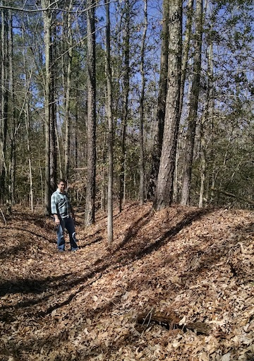Chris stands in the Confederate works along a portion of Anderson's line at North Anna.