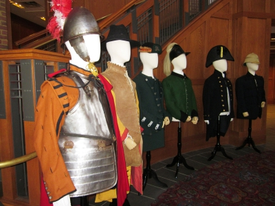"""""""Defending the Crown"""" Exhibit, showcasing British uniforms over time (courtesy of JYF)"""