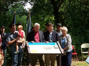 Civil War Trails Marker unveiling.  Rob Orrison with son Carter, VA Sen. Richard Black with grandson and Anne Crocker