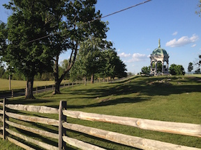 The wedge of property known as the Wilson Farm, visible here on the north side of the road opposite the Maryland monument, was the site of some of the war's bloodiest fighting—and the site of one of the Trust's greatest preservation efforts.