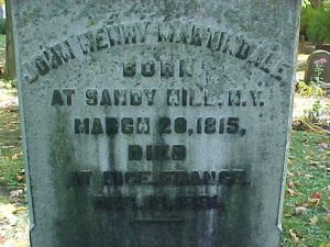 Martindale's Headstone. Courtesy Find-A-Grave.