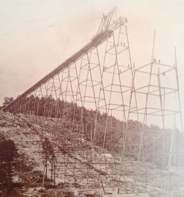 The Kinzua Viaduct, under construction (photo courtesy of the PA Department of Conservation and Natural Resources)