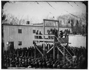 Henry Wirz is prepared to be hanged at the Old Capitol Prison.