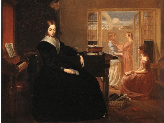 """No reliable photographs of Arabella Griffith Barlow have survived; but this painting - """"The Governess"""" - hints at her life during the antebellum period. (This artwork was published in the US before 1923 and public domain in the US.)"""