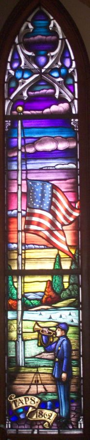 the TAPS window hangs in the chapel at Ft. Monroe, VA