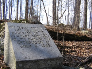 Advanced marker of the 27th Connecticut, dedicated October 27, 1889.