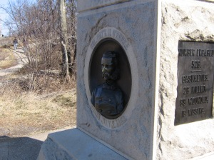 Monument to the 140th New York. Patrick O'Rorke led his nearly 500 men in a counter attack down Little Round Top. He was shot through the neck and mortally wounded. It is his face on the front of his regiments monument.