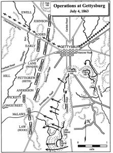 Union operations on July 4, 1863. Companies of the 2nd Regiment, U.S. Sharpshooters proceeded west from the vicinity of The Peach Orchard (fifth arrow up from the bottom), crossing Emmitsburg Road to within 150 to 200 yards of Confederate lines. (Courtesy of Eric Wittenberg, J. David Pertruzzi and Michael Nugent, authors of One Continuous Fight: The Retreat From Gettysburg and the Pursuit of Lee's Army of Northern Virginia, July 4-14, 1863, Savas Beatie Publishing 2013)