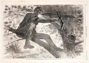 "November 15, 1862 Harper's Weekly leaf entitled, ""The Army of the Potomac – A Sharp-Shooter on Picket Duty [from a painting by Winslow.]"