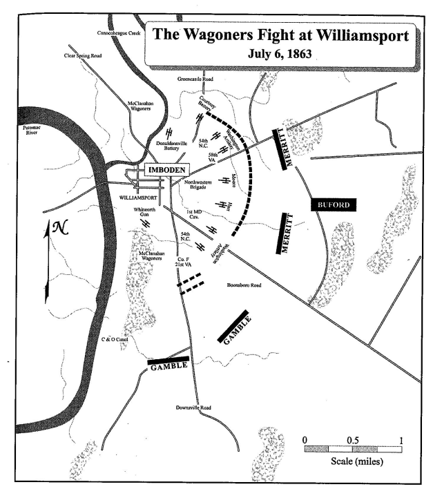 Blue and Gray positions during the successful Confederate defense of Williamsport. (Courtesy of Eric Wittenberg, J. David Pertruzzi and Michael Nugent, authors of One Continuous Fight: The Retreat From Gettysburg and the Pursuit of Lee's Army of Northern Virginia, July 4-14, 1863, Savas Beatie Publishing 2013)