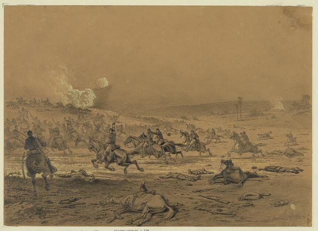 """""""A Cavalry Charge"""" by Edwin Forbes. (LOC)"""