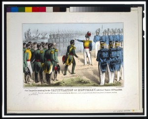 Gen. Ampudia meets with Zachary Taylor to surrender the city of Monterrey in this Currier & Ives print (LOC)